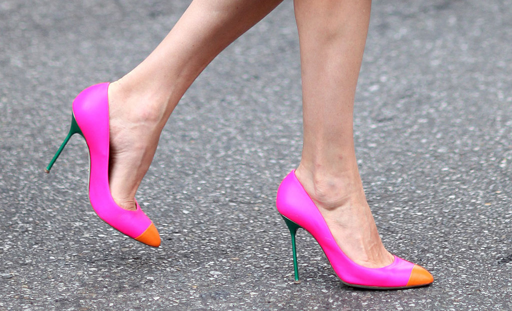 Cap-toe heels got a fresh update in two bold sorbet hues. Source: Greg Kessler