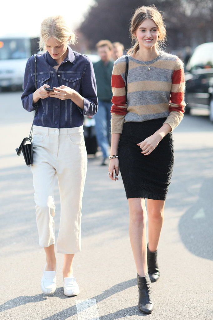 We're looking to stock our Fall closet with cozy striped sweaters and denim toppers. Source: Greg Kessler