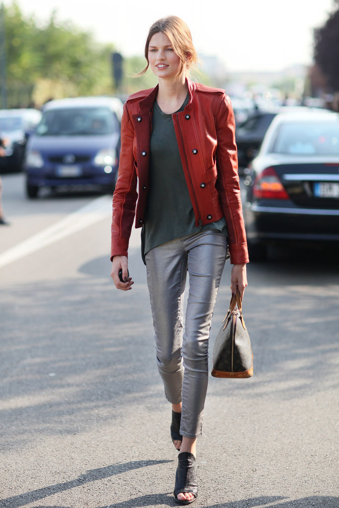 We love this slick metallic pant versus bold red military-inspired jacket — it's a low-key pairing with a lot of attitude.