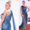 Pictures of Hayden Panettiere in Marchesa Gold and Blue Marchesa Gown on the red carpet at the 2012 Emmy Awards