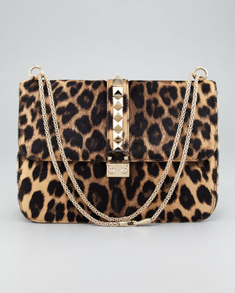 Valentino Leopard Calf Hair Lock Bag