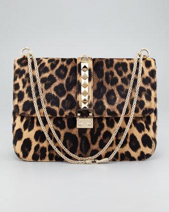 Valentino Leopard Calf Hair Lock Bag