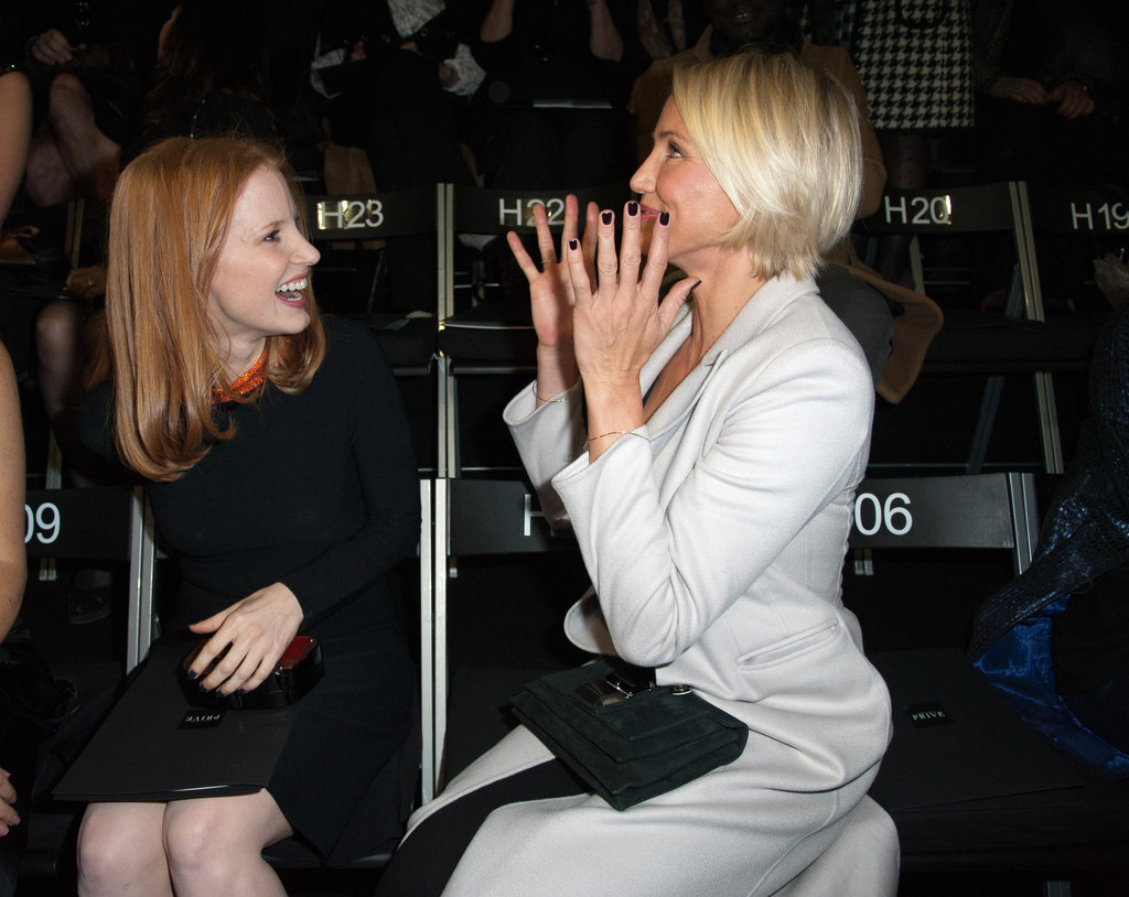 Cameron Diaz and Jessica Chastain celebrated Jessica's Oscar nomination in the front row at Armani in January 2012.