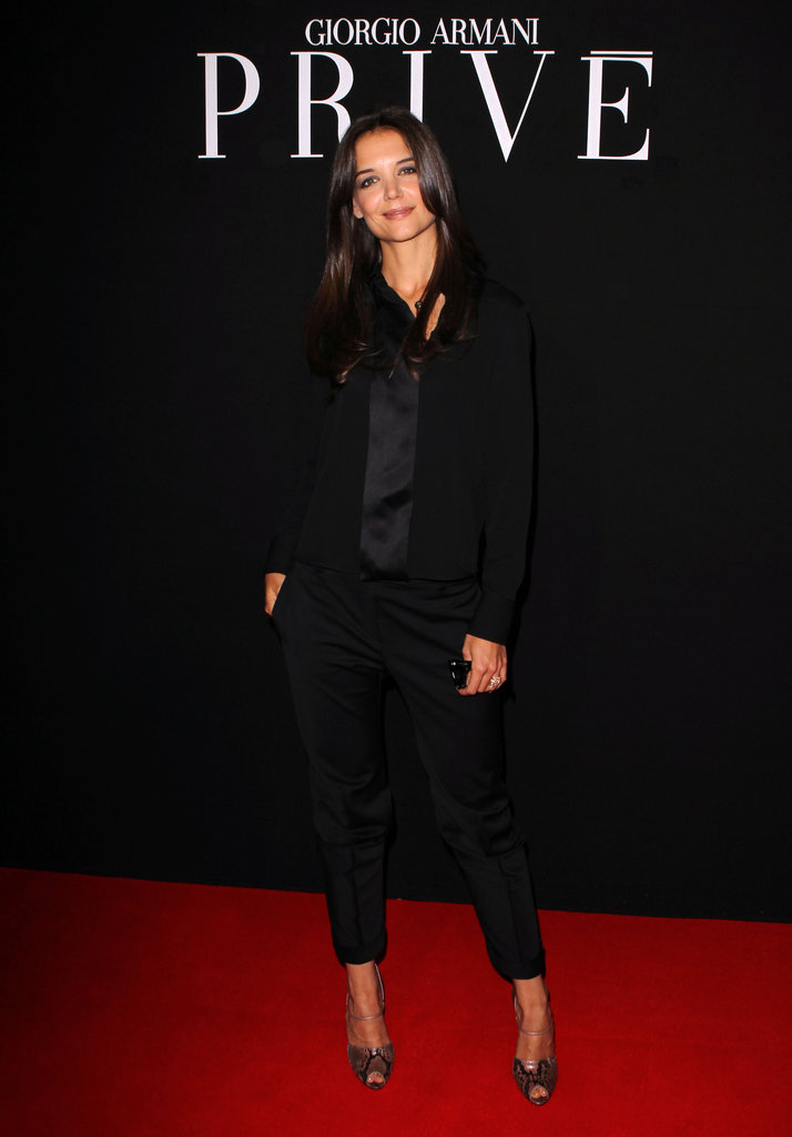 Katie Holmes attended the Giorgio Armani Privé Haute Couture show as part of Paris Fashion Week in July 2011.