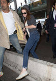 Kristen Stewart Lands in Paris For Balenciaga