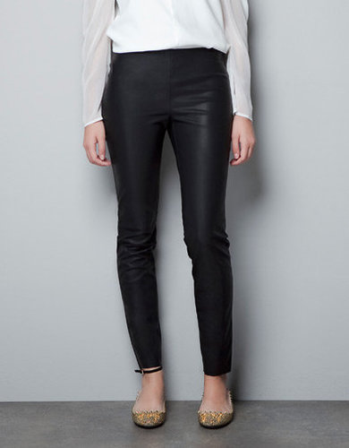 RUBBERISED LEATHER EFFECT LEGGINGS - Trousers - Woman - ZARA United States