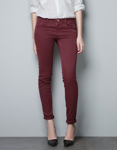 Your skinny jeans will feel all the more seasonal in a deep Merlot hue. Zara Skinny Jeans ($36)
