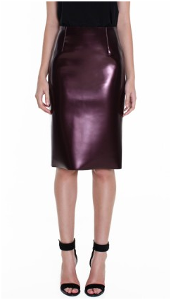 And maybe the most luxe of ways to get in on the trend — with Tibi's burgundy pencil in a slick metallic finish. We swooned when we saw it come down the runway and now we're styling it up with a chunky gray sweater for an effortless — and still high-impact — Fall look. Tibi Bonded Vinyl Pencil Skirt — Burgundy ($725)