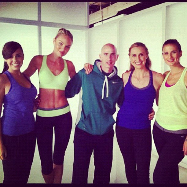 Candice Swanepoel filmed a Victoria's Secret Angel workout video with her trainer (and our very own FabSugar assistant editor Hannah Weil). Source: Instagram user angelcandices