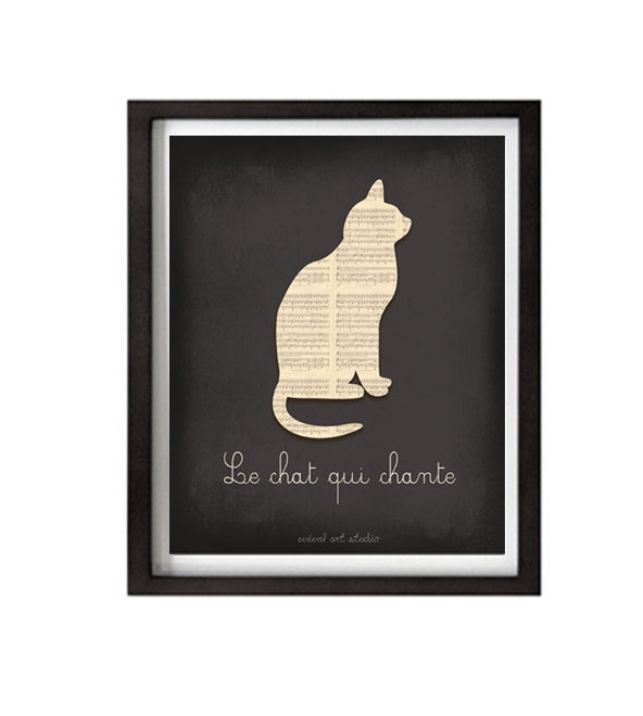 "The Le Chat Qui Chante print ($16) — ""the cat who sings"" — is a fun, cheeky pick for little cat lovers."