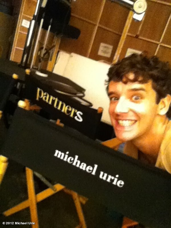 Michael Urie was stoked about his personalized chair on the set of Partners. Source: Twitter user michaelurie