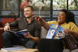 Jeff (Joel McHale) and Shirley (Yvette Nicole Brown) have a laugh in the study room.