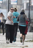 J Lo and Casper Pair Up in Poland For a Morning Jog