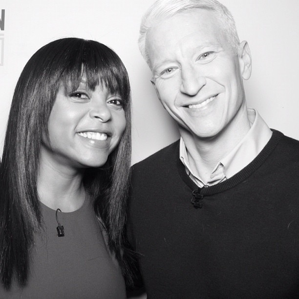 Taraji P. Hensen and Anderson Cooper posed in the photo booth on the set of his show. Source: Instagram user andersoncooper