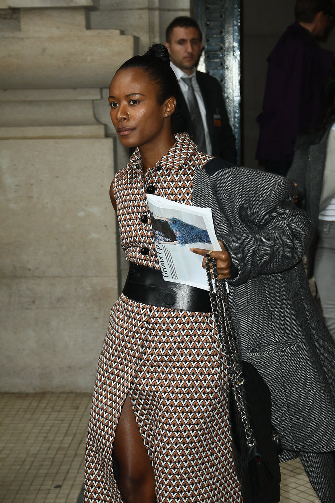 We spied one of Prada's Fall 2012 trench-coat dresses on the ever-stylish Shala Monroque as she arrived at Carven.