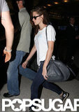 Kristen Stewart walked through the airport.