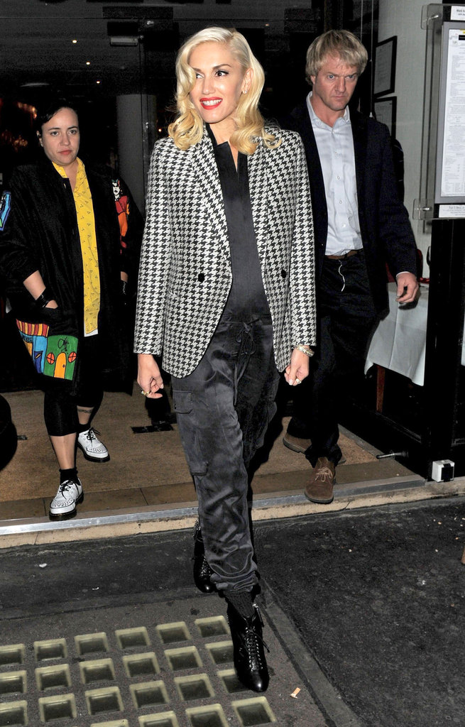 Gwen Stefani smiled during for a night out in London.
