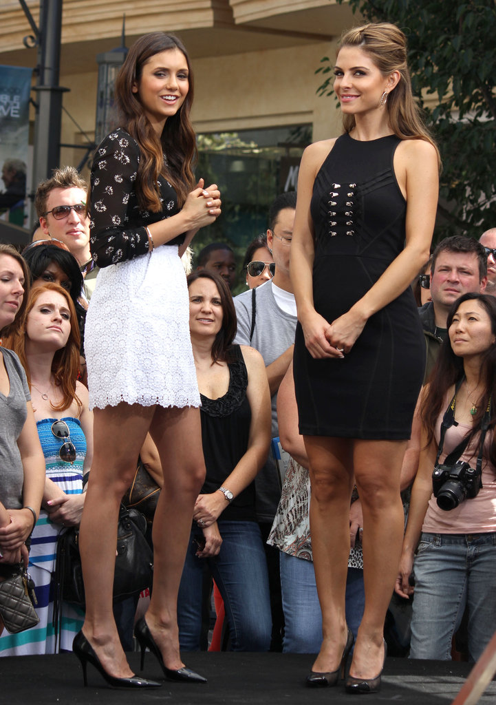 Nina Dobrev gave Maria Menounos an interview at The Grove.