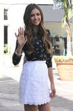 Nina Dobrev made a stylish arrival at The Grove.