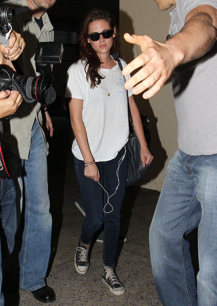 Kristen Stewart rocked a white t-shirt and jeans.
