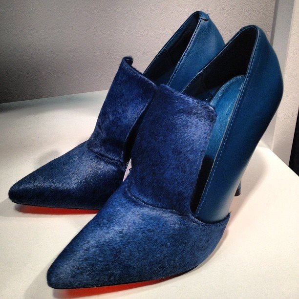 We loved the deep blue hue and calf-hair finish to these pumps at the new Joe Fresh store on Madison.