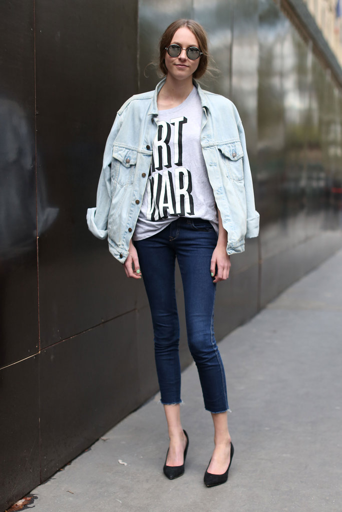 This street styler coordinated a pair of basic black d'orsay heels with superskinny jeans and a '90s-cool denim jacket.