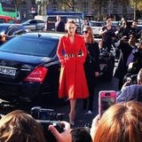 Leelee Sobieski was stunning in red as she arrived for the Dior show.
