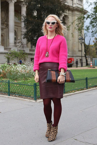 Burgundy leather and a bold pink prove the power of unexpected colorblocking.