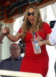 Mariah Carey rocked a fitted red dress.