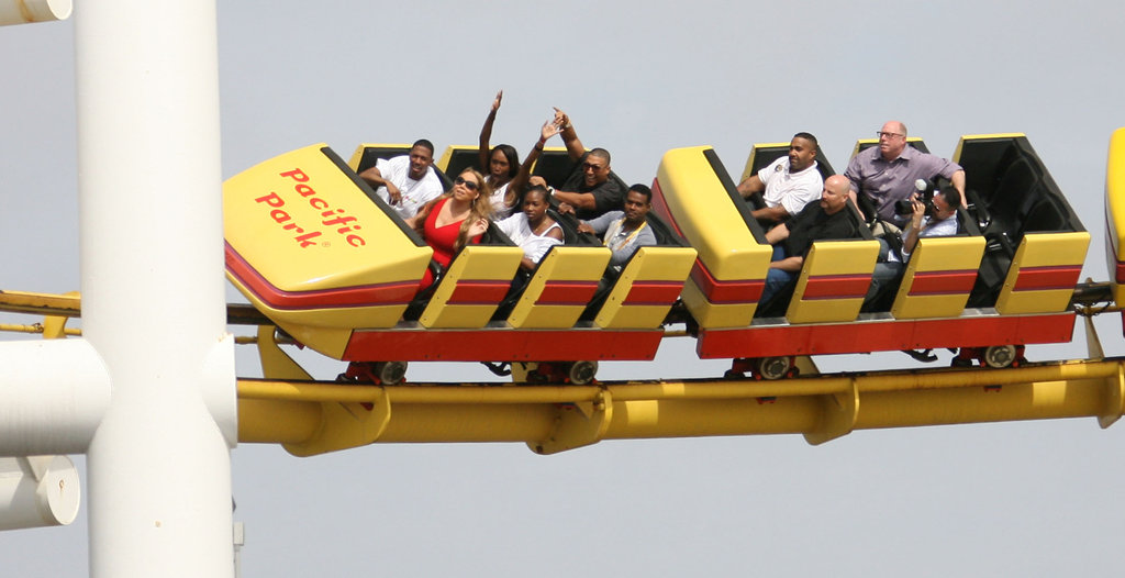 Nick Cannon and Mariah Carey rode a roller coaster.