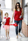 Jennifer Garner and Violet Affleck wore matching red shirts in LA.