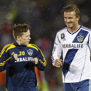 David and Brooklyn Beckham at a Galaxy Game | Pictures