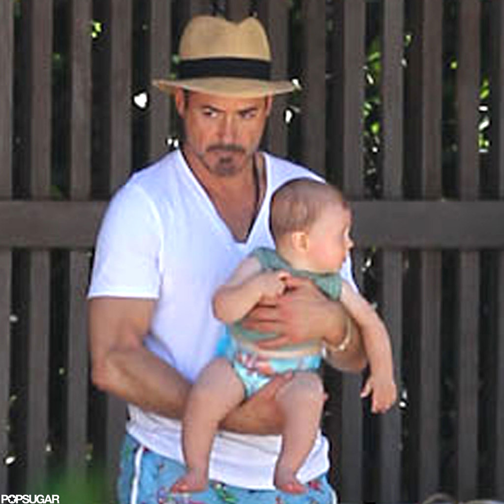Robert Downey Jr. hung out by the pool with Exton.