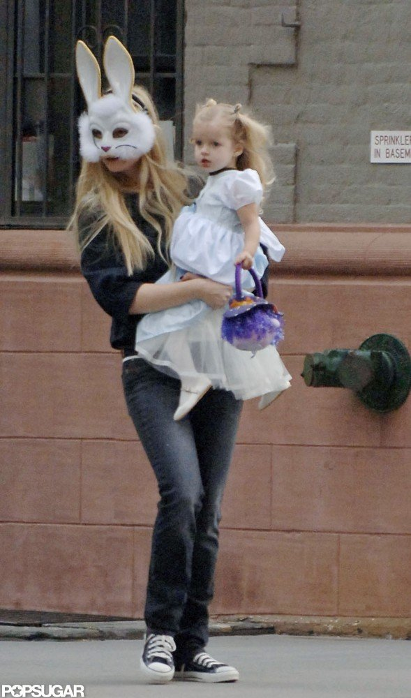 Gwyneth Paltrow put on a bunny mask to take Apple out in NYC for Halloween in 2006.