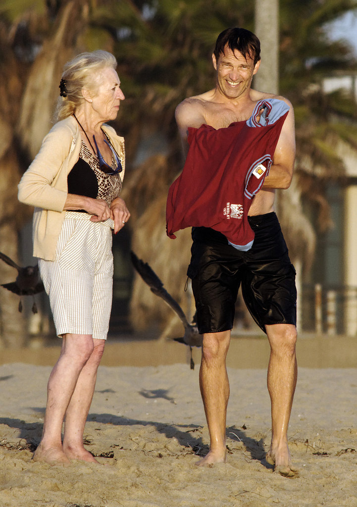 Stephen Moyer hung out with his mother on the beach.