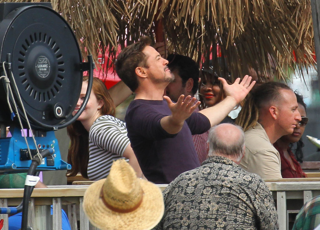 RDJ Goes Shirtless Poolside With His Baby Boy, Exton