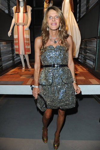 Anna Dello Russo sparkled in this silver strapless number, and what a fittingly festive dress to celebration Chloé's 60th anniversary.