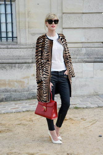 Animal print lent statement power to a pair of Zara leather-effect skinnies and pumps.