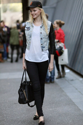 A little grunge, a little polish via an acid-wash denim jacket and buckled loafers.