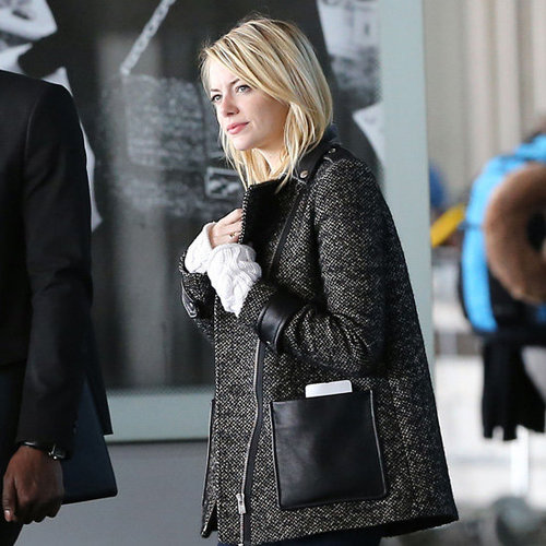 Emma Stone Wearing Tweed-and-Leather Coat