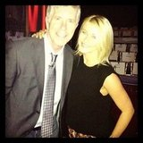 "Julianne Hough returned to her ""old stomping ground"" of Dancing With the Stars and snapped a picture with host Tom Bergeron. Source: Instagram user juleshough"