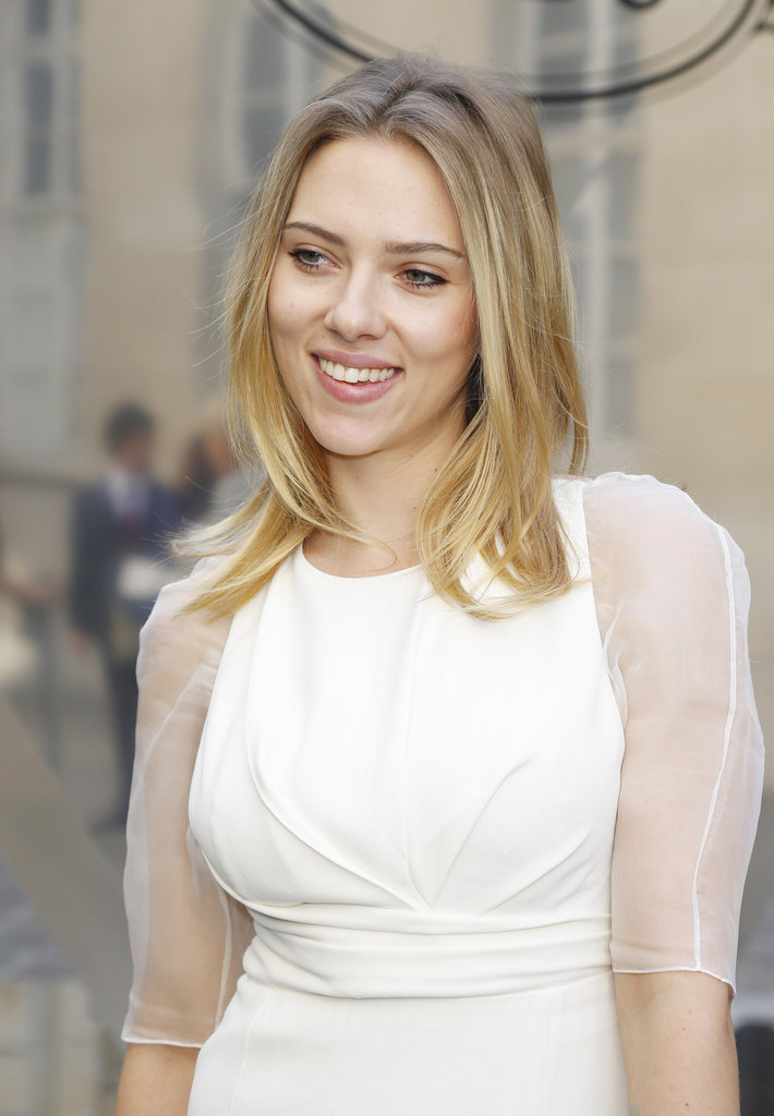Scarlett Johansson wore Dior to the Tod's Party for Paris Fashion Week.