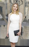 Scarlett Johansson wore a short white dress for the Tod's Party for Paris Fashion Week.