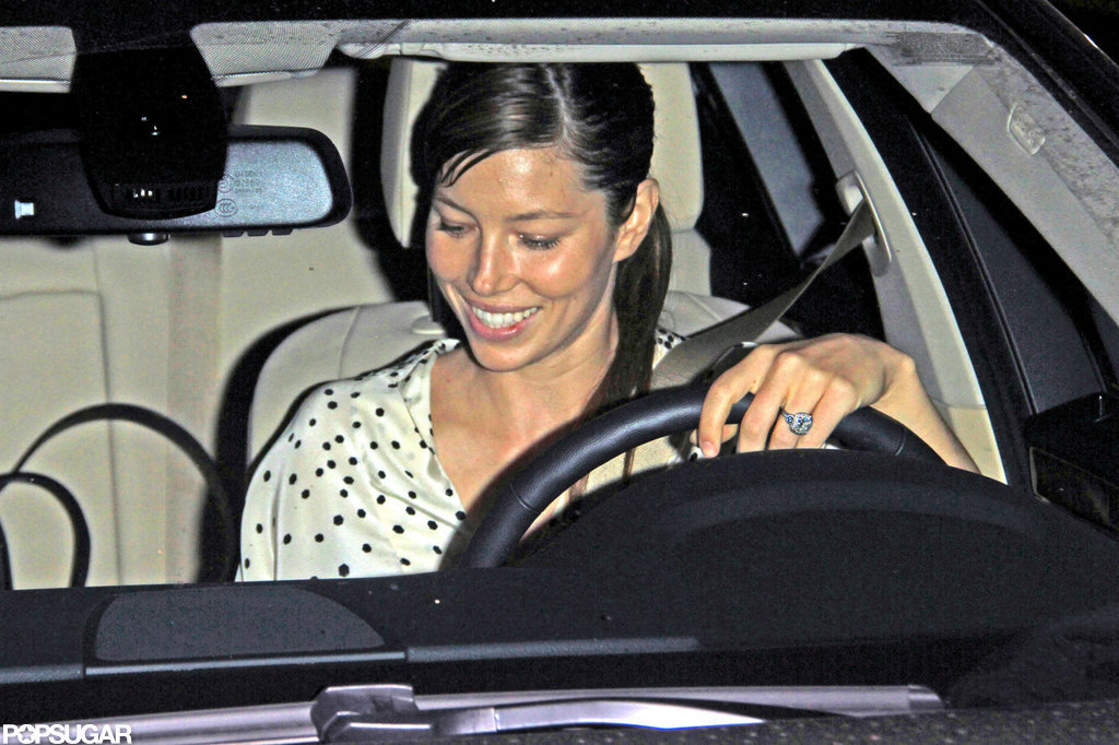 Jessica Biel's engagement ring was on display.