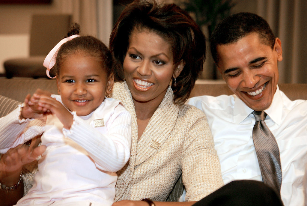 Michelle was by Barack's side, with an adorable Sasha, as he waited for results of his senate race in 2004.