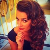 Lea Michele sported a retro look on the set of Glee. Source: Instagram user msleamichele