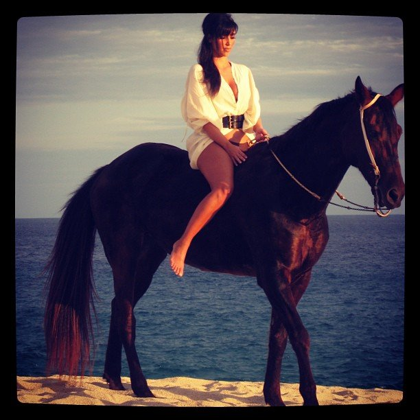 Kim Kardashian rode a horse on the beach. Source: Instagram user kimkardashian
