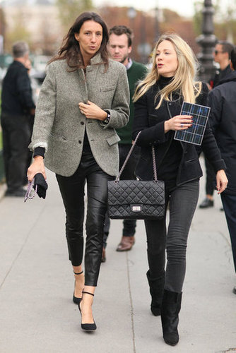 Fall-perfect, two ways — a tweedy topper balanced out slick bottoms (at left), while all-black got a lift with a chic jacket and downtown-cool boots.