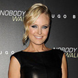 Malin Akerman's Colorblock Sandals Make Her Leather Dress Pop