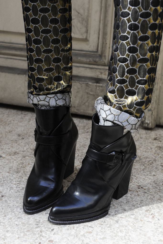 An edgy play on this season's favorite Chelsea boot silhouette looked especially cool against brocade bottoms.